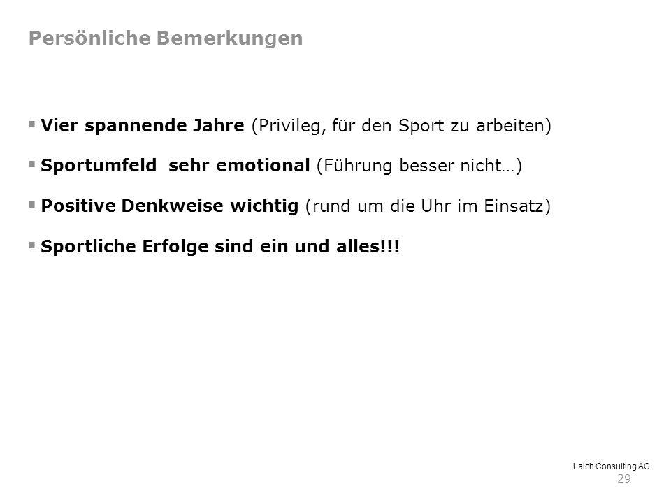 Laich Consulting AG 29 Persönliche Bemerkungen Vier spannende Jahre (Privileg, für den Sport zu arbeiten) Sportumfeld sehr emotional (Führung besser n
