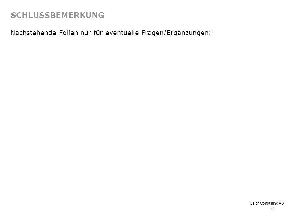Laich Consulting AG 31 Nachstehende Folien nur für eventuelle Fragen/Ergänzungen: SCHLUSSBEMERKUNG