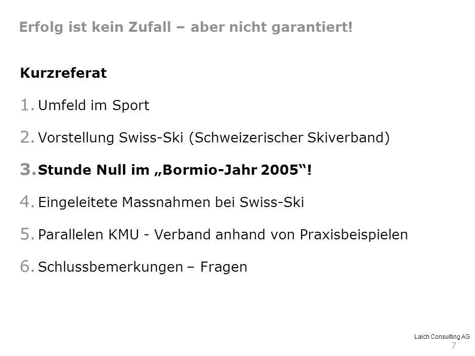 Laich Consulting AG 7 Kurzreferat 1. Umfeld im Sport 2. Vorstellung Swiss-Ski (Schweizerischer Skiverband) 3. Stunde Null im Bormio-Jahr 2005! 4. Eing