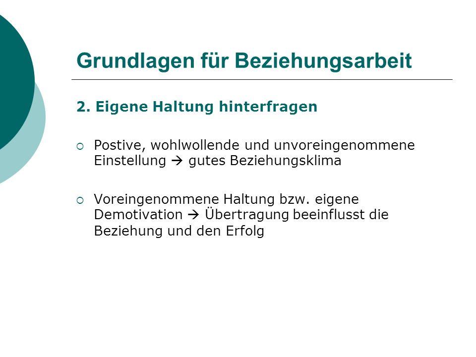 Grundlagen für Beziehungsarbeit 2.