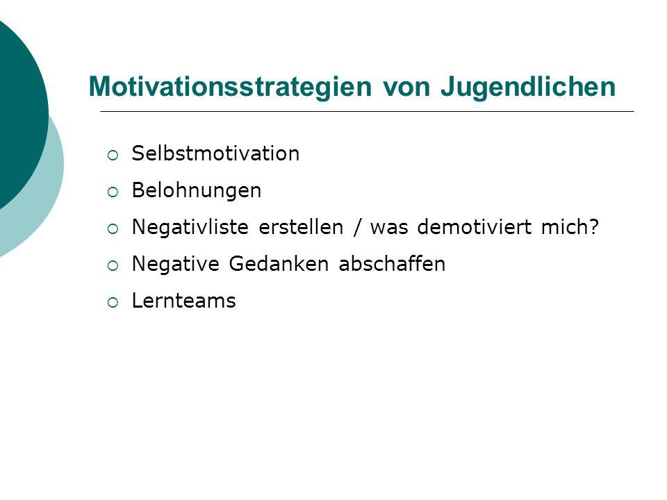 Motivationsstrategien von Jugendlichen Selbstmotivation Belohnungen Negativliste erstellen / was demotiviert mich.