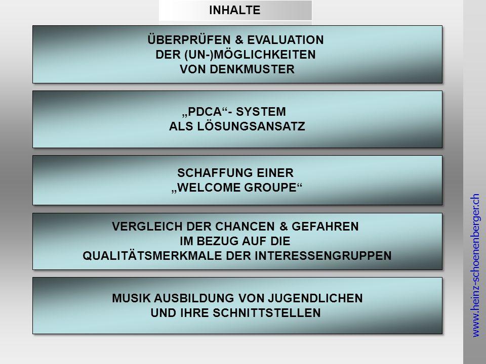 www.heinz-schoenenberger.ch ÜBERPRÜFEN & EVALUATION DER (UN-)MÖGLICHKEITEN VON DENKMUSTER ÜBERPRÜFEN & EVALUATION DER (UN-)MÖGLICHKEITEN VON DENKMUSTER PDCA- SYSTEM ALS LÖSUNGSANSATZ PDCA- SYSTEM ALS LÖSUNGSANSATZ MUSIK AUSBILDUNG VON JUGENDLICHEN UND IHRE SCHNITTSTELLEN MUSIK AUSBILDUNG VON JUGENDLICHEN UND IHRE SCHNITTSTELLEN VERGLEICH DER CHANCEN & GEFAHREN IM BEZUG AUF DIE QUALITÄTSMERKMALE DER INTERESSENGRUPPEN VERGLEICH DER CHANCEN & GEFAHREN IM BEZUG AUF DIE QUALITÄTSMERKMALE DER INTERESSENGRUPPEN SCHAFFUNG EINER WELCOME GROUPE SCHAFFUNG EINER WELCOME GROUPE