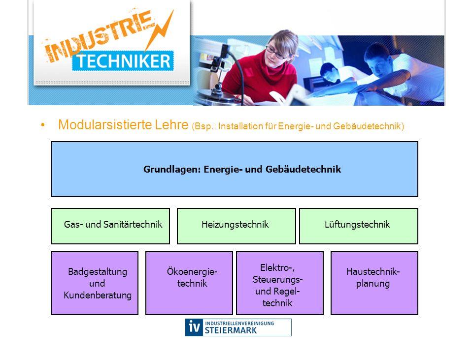 Modularsistierte Lehre (Bsp.: Installation für Energie- und Gebäudetechnik) Gas- und SanitärtechnikLüftungstechnikHeizungstechnik Badgestaltung und Ku
