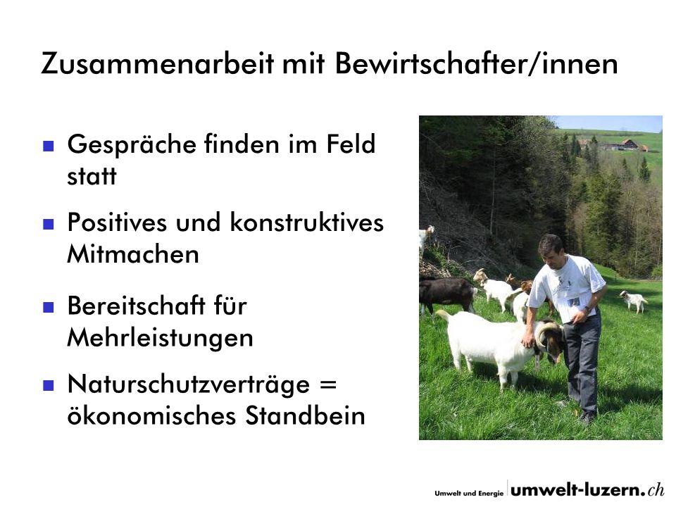 Zusammenarbeit mit Bewirtschafter/innen Positives und konstruktives Mitmachen Naturschutzverträge = ökonomisches Standbein Gespräche finden im Feld st
