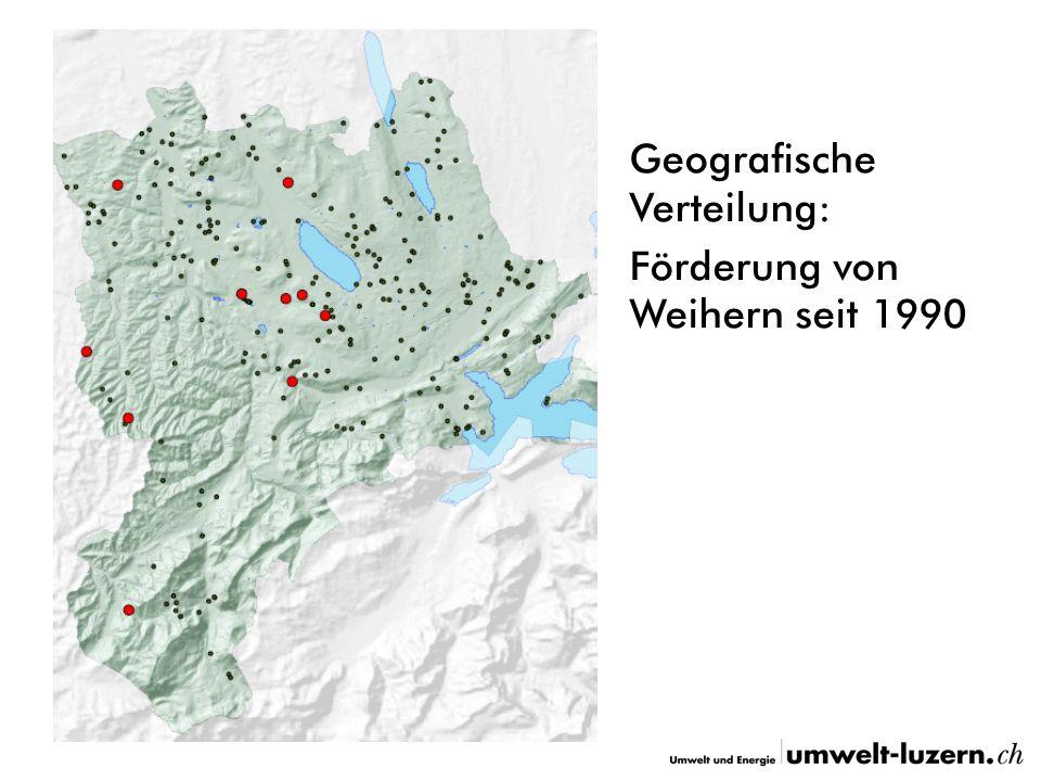 Geografische Verteilung: Förderung von Weihern seit 1990