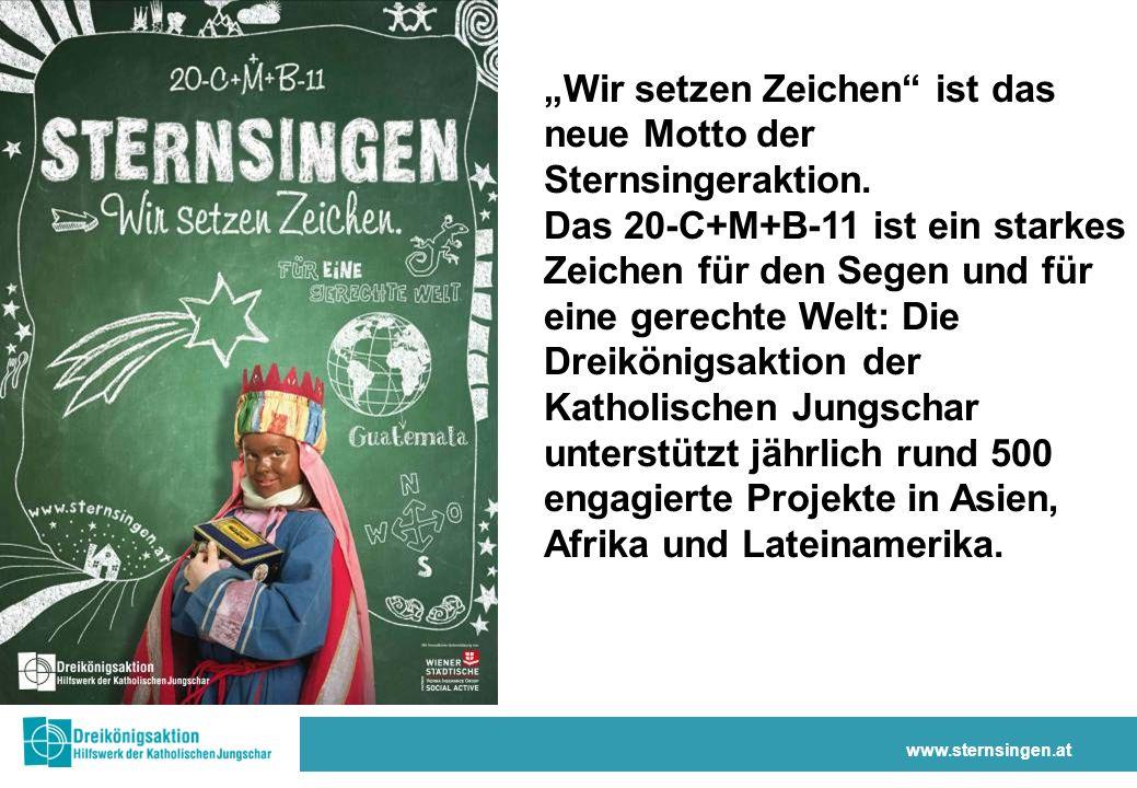 www.sternsingen.at Wir setzen Zeichen ist das neue Motto der Sternsingeraktion.