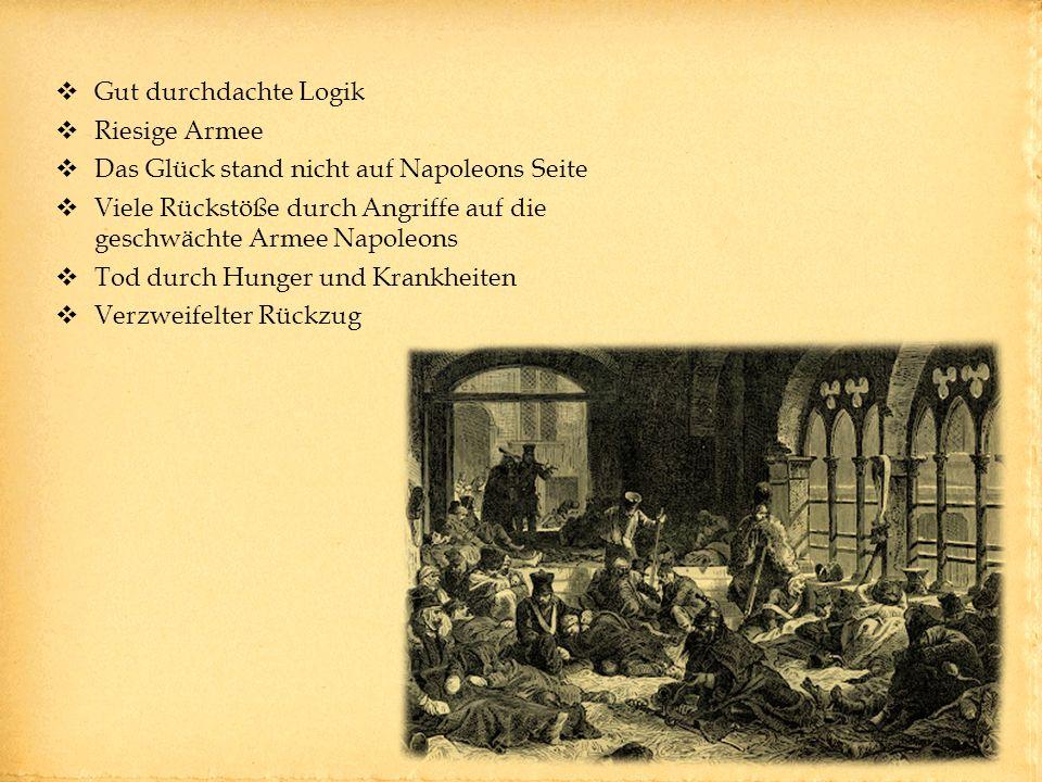 Gut durchdachte Logik Riesige Armee Das Glück stand nicht auf Napoleons Seite Viele Rückstöße durch Angriffe auf die geschwächte Armee Napoleons Tod durch Hunger und Krankheiten Verzweifelter Rückzug