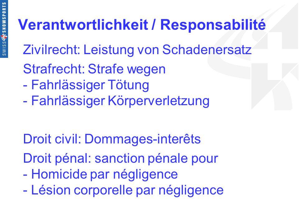 Verantwortlichkeit / Responsabilité Zivilrecht: Leistung von Schadenersatz Strafrecht: Strafe wegen - Fahrlässiger Tötung - Fahrlässiger Körperverletz