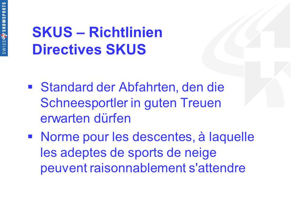 SKUS – Richtlinien Directives SKUS Standard der Abfahrten, den die Schneesportler in guten Treuen erwarten dürfen Norme pour les descentes, à laquelle