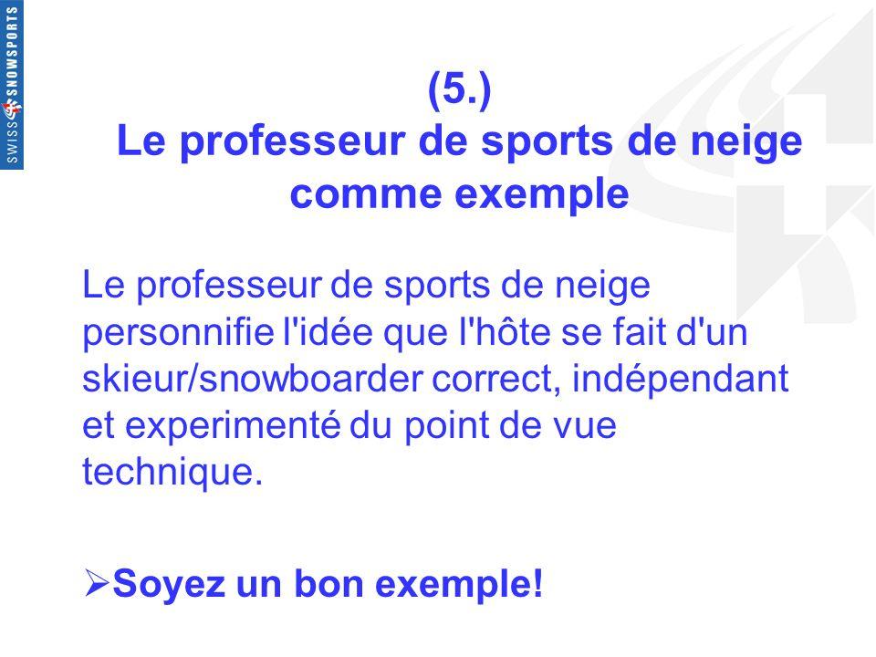 (5.) Le professeur de sports de neige comme exemple Le professeur de sports de neige personnifie l'idée que l'hôte se fait d'un skieur/snowboarder cor