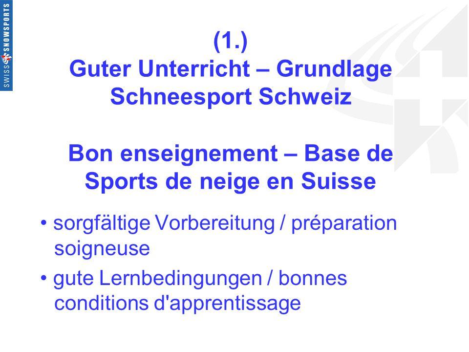(1.) Guter Unterricht – Grundlage Schneesport Schweiz Bon enseignement – Base de Sports de neige en Suisse sorgfältige Vorbereitung / préparation soig
