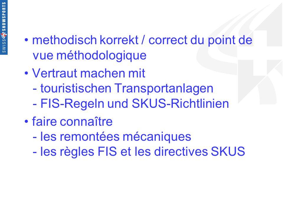 methodisch korrekt / correct du point de vue méthodologique Vertraut machen mit - touristischen Transportanlagen - FIS-Regeln und SKUS-Richtlinien fai