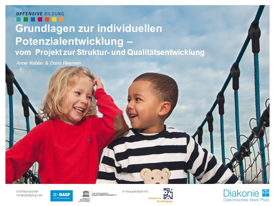 Projekt Beobachtung & Erziehungspartnerschaft Mit freundlicher Unterstützung von: Grundlagen zur individuellen Potenzialentwicklung – vom Projekt zur Struktur- und Qualitätsentwicklung Anne Kebbe & Doris Reemen In Kooperation mit: