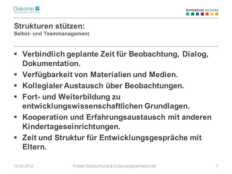 Projekt Beobachtung & Erziehungspartnerschaft 19.04.20127 Strukturen stützen: Selbst- und Teammanagement Verbindlich geplante Zeit für Beobachtung, Di