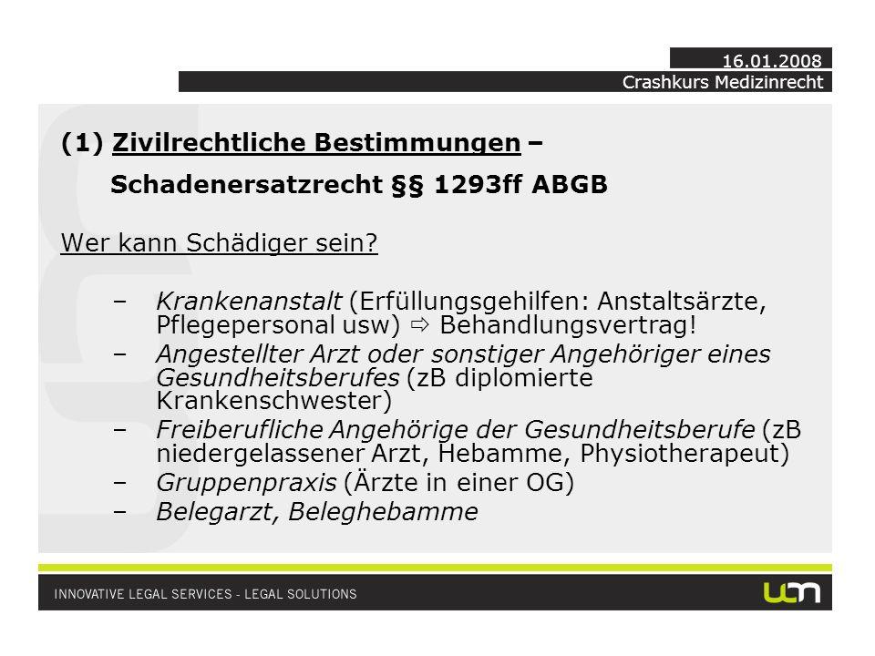 Crashkurs Medizinrecht 16.01.2008 (1) Zivilrechtliche Bestimmungen – Schadenersatzrecht §§ 1293ff ABGB Wer kann Schädiger sein.