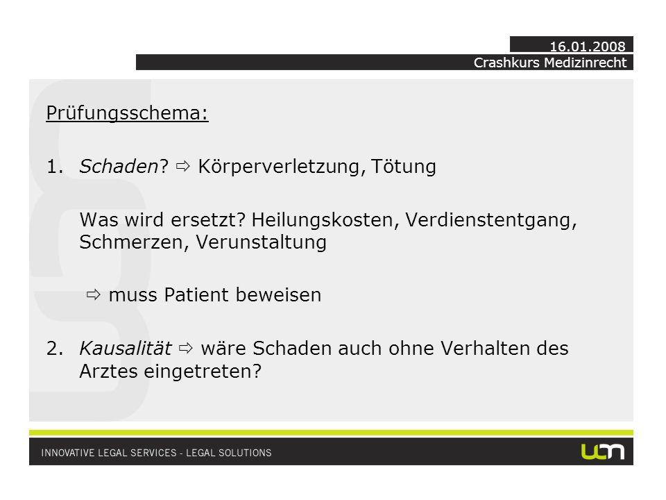 Crashkurs Medizinrecht 16.01.2008 Prüfungsschema: 1.Schaden.