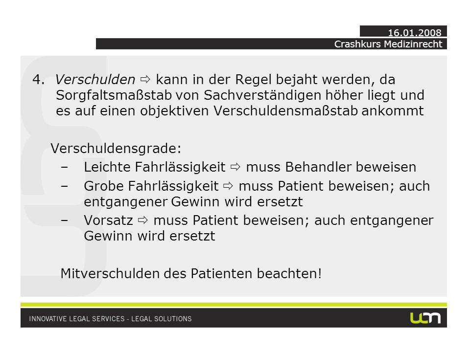 Crashkurs Medizinrecht 16.01.2008 4.