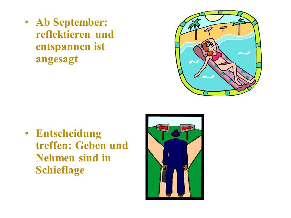 Ab September: reflektieren und entspannen ist angesagt Entscheidung treffen: Geben und Nehmen sind in Schieflage