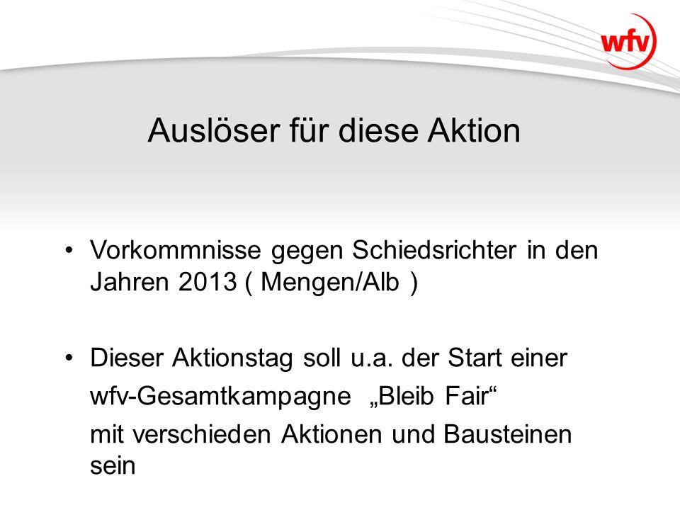 Aktionstag für SR Im April findet an einem Wochenende im Bereich der Aktiven (Frauen/Herren/Reserven) ein Aktionstag bei allen Spielen der KL C bis Verbandsliga Württemberg statt.