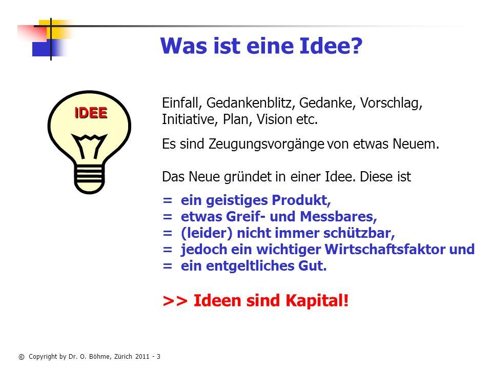 © Copyright by Dr.O. Böhme, Zürich 2011 - 3 Was ist eine Idee.