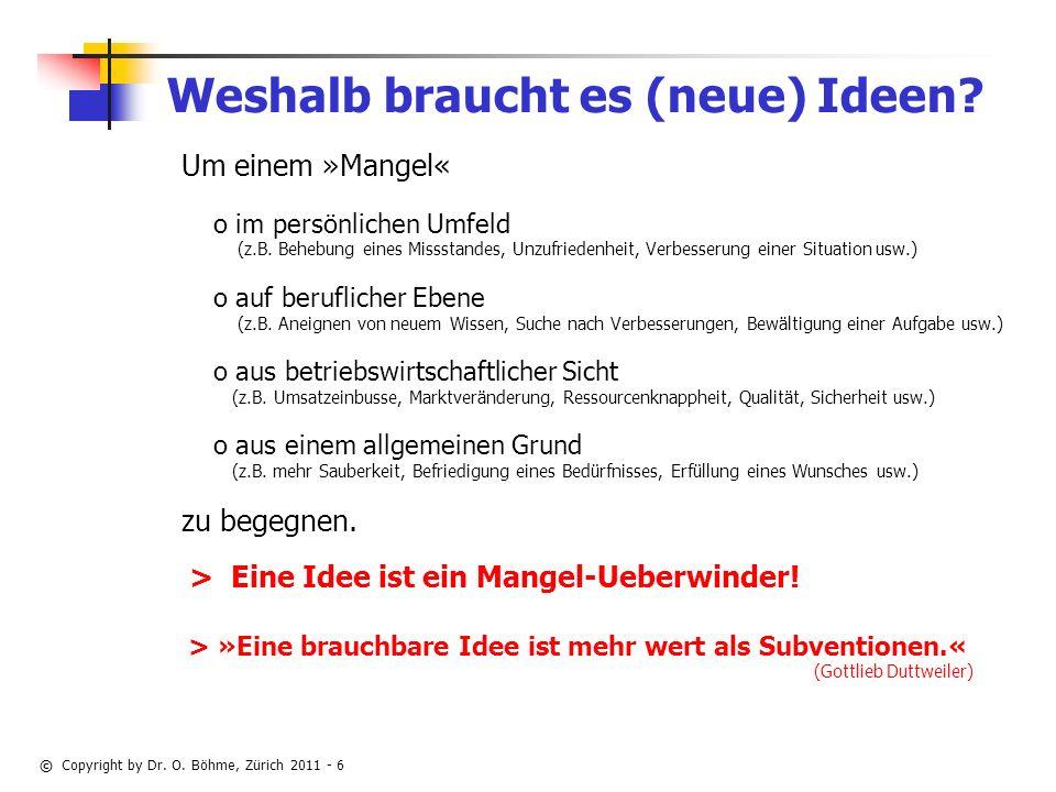 © Copyright by Dr.O. Böhme, Zürich 2011 - 6 Weshalb braucht es (neue) Ideen.