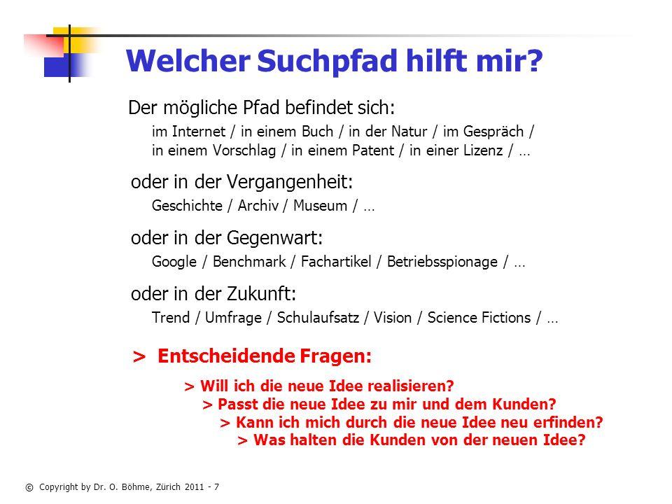 © Copyright by Dr.O. Böhme, Zürich 2011 - 7 Welcher Suchpfad hilft mir.