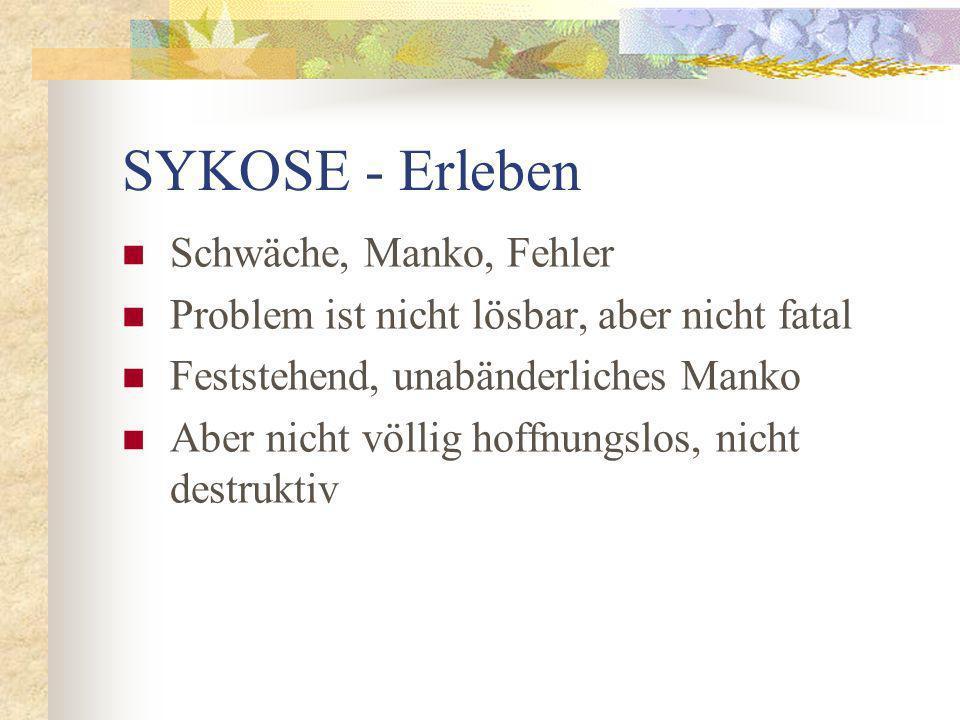 SYKOSE - Erleben Schwäche, Manko, Fehler Problem ist nicht lösbar, aber nicht fatal Feststehend, unabänderliches Manko Aber nicht völlig hoffnungslos,