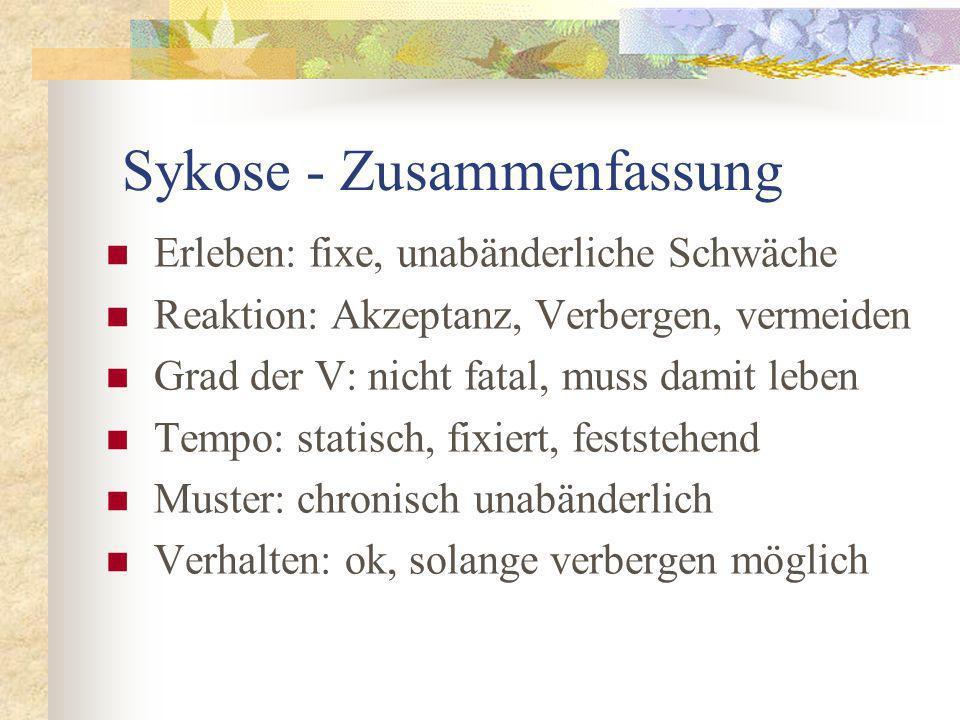 Sykose - Zusammenfassung Erleben: fixe, unabänderliche Schwäche Reaktion: Akzeptanz, Verbergen, vermeiden Grad der V: nicht fatal, muss damit leben Te