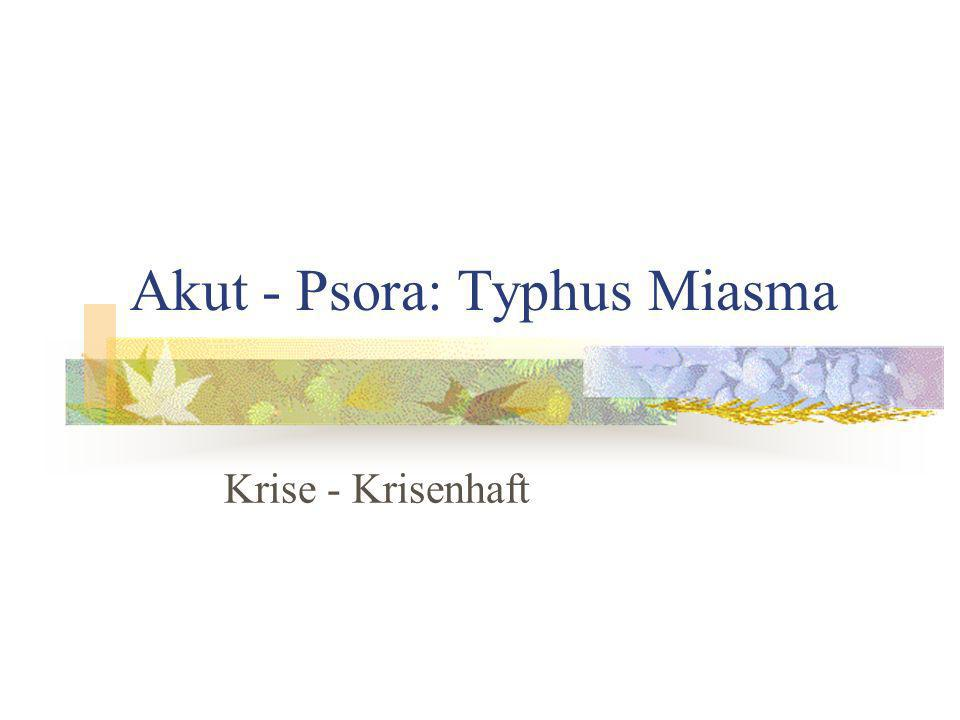 Akut - Psora: Typhus Miasma Krise - Krisenhaft