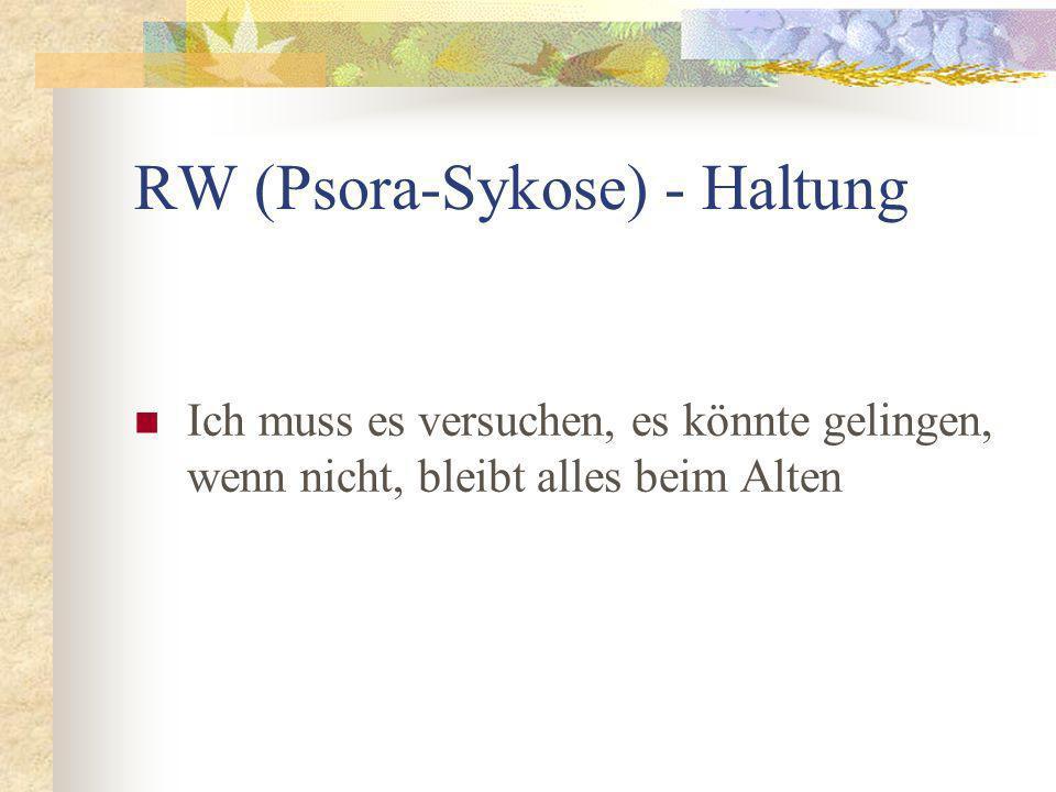 RW (Psora-Sykose) - Haltung Ich muss es versuchen, es könnte gelingen, wenn nicht, bleibt alles beim Alten