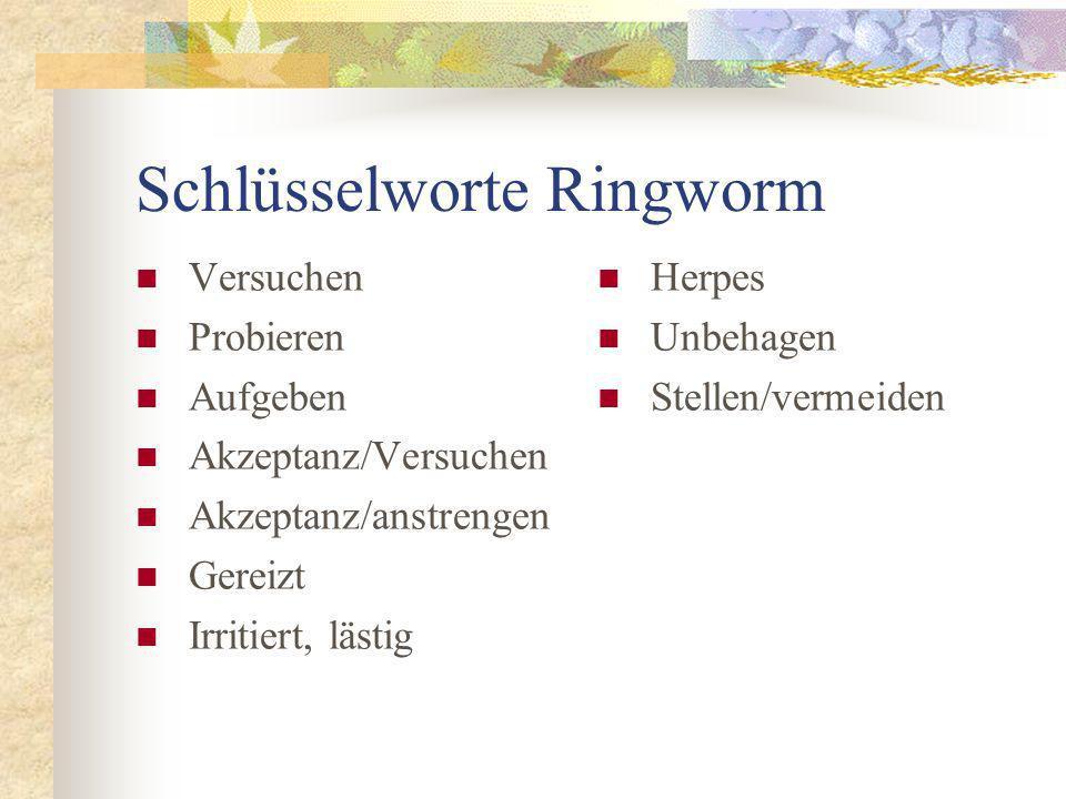 Schlüsselworte Ringworm Versuchen Probieren Aufgeben Akzeptanz/Versuchen Akzeptanz/anstrengen Gereizt Irritiert, lästig Herpes Unbehagen Stellen/vermeiden