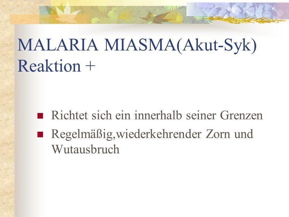 MALARIA MIASMA(Akut-Syk) Reaktion + Richtet sich ein innerhalb seiner Grenzen Regelmäßig,wiederkehrender Zorn und Wutausbruch