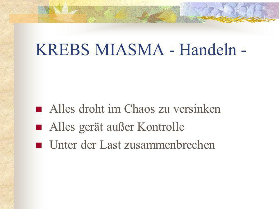 KREBS MIASMA - Handeln - Alles droht im Chaos zu versinken Alles gerät außer Kontrolle Unter der Last zusammenbrechen