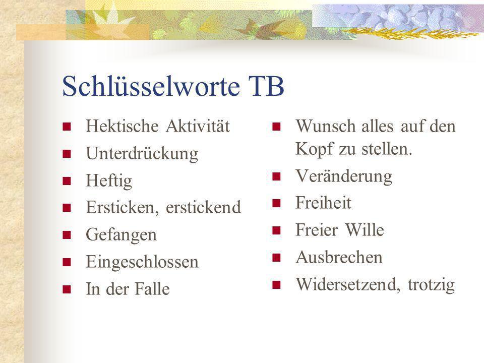 Schlüsselworte TB Hektische Aktivität Unterdrückung Heftig Ersticken, erstickend Gefangen Eingeschlossen In der Falle Wunsch alles auf den Kopf zu stellen.