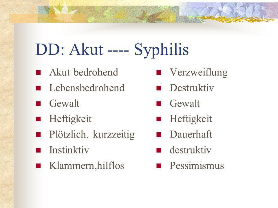 DD: Akut ---- Syphilis Akut bedrohend Lebensbedrohend Gewalt Heftigkeit Plötzlich, kurzzeitig Instinktiv Klammern,hilflos Verzweiflung Destruktiv Gewa