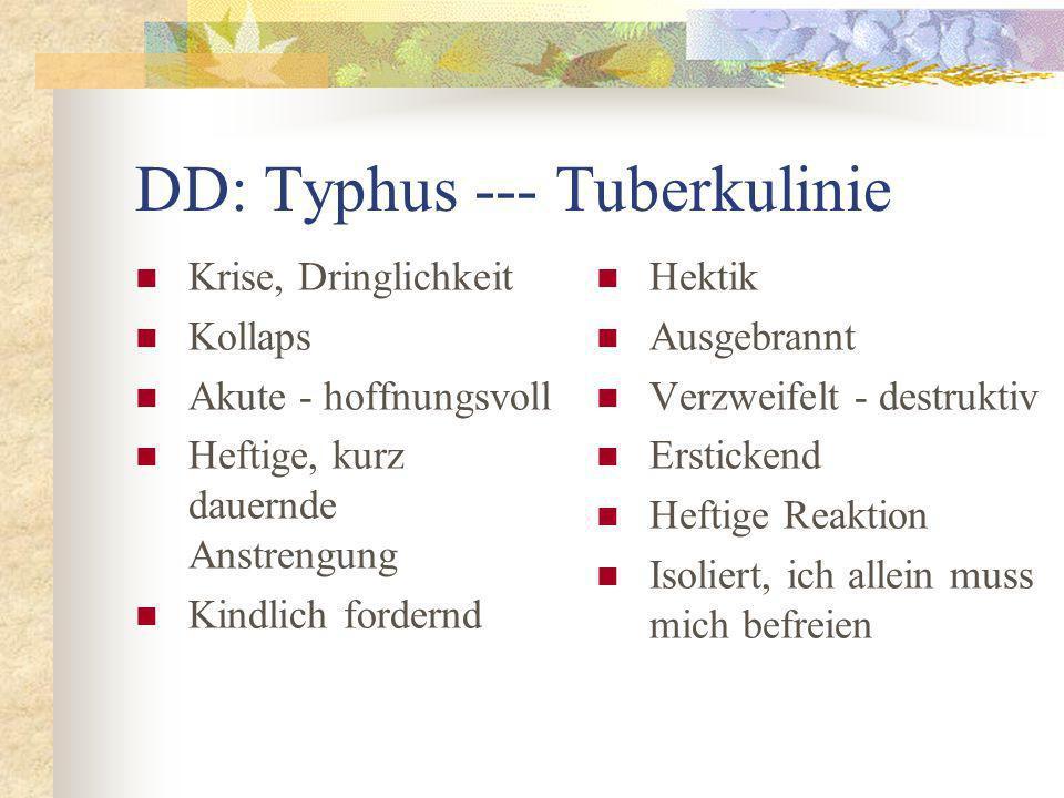 DD: Typhus --- Tuberkulinie Krise, Dringlichkeit Kollaps Akute - hoffnungsvoll Heftige, kurz dauernde Anstrengung Kindlich fordernd Hektik Ausgebrannt Verzweifelt - destruktiv Erstickend Heftige Reaktion Isoliert, ich allein muss mich befreien