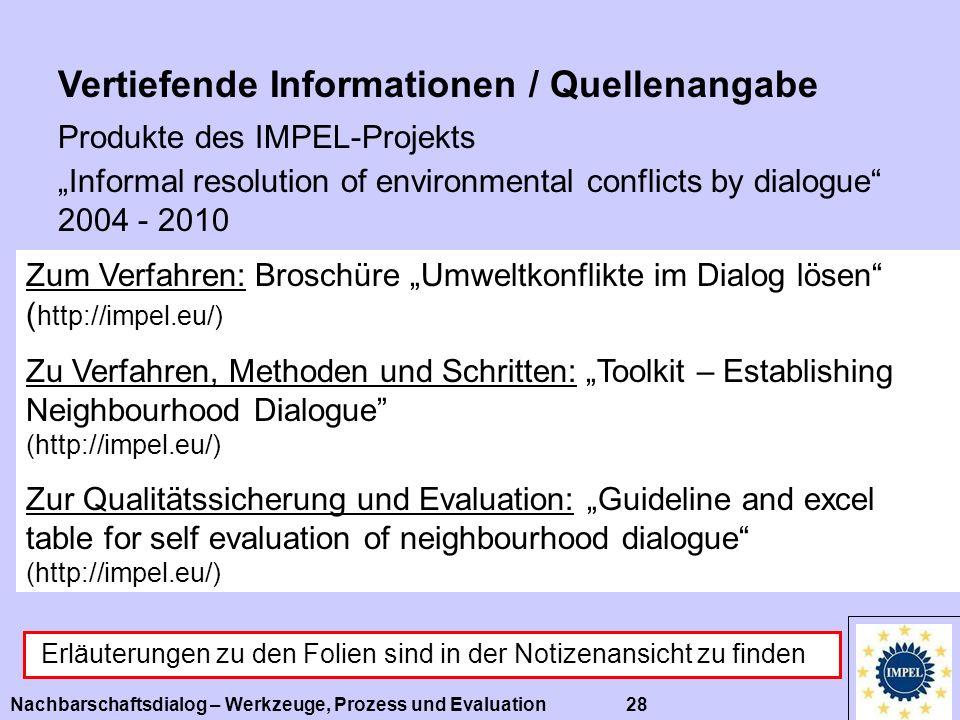 Nachbarschaftsdialog – Werkzeuge, Prozess und Evaluation 28 Vertiefende Informationen / Quellenangabe Zum Verfahren: Broschüre Umweltkonflikte im Dial