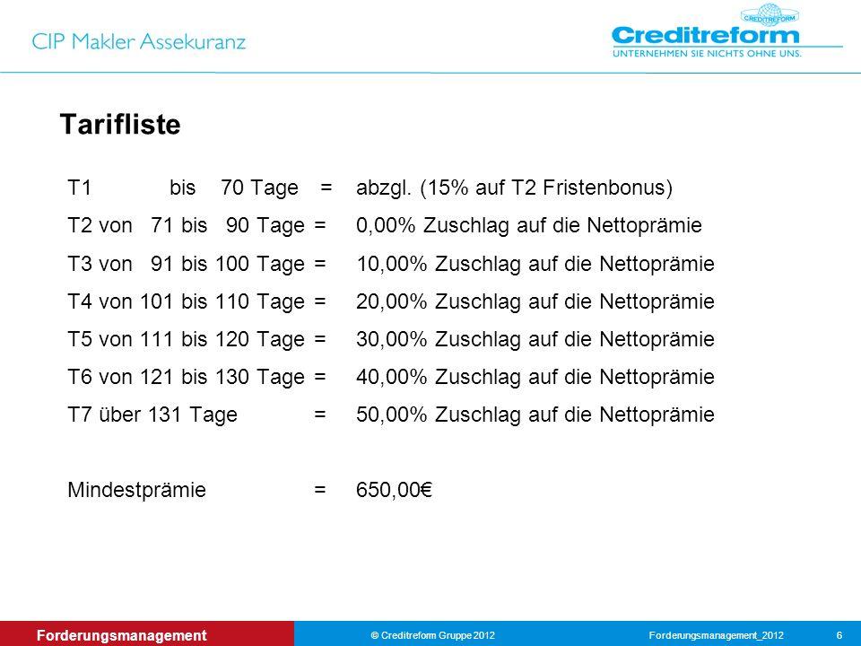Forderungsmanagement_2012© Creditreform Gruppe 2012 6 Forderungsmanagement Tarifliste T1 bis 70 Tage =abzgl.