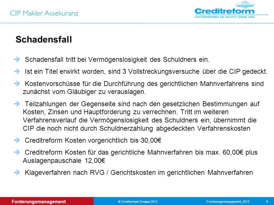 Forderungsmanagement_2012© Creditreform Gruppe 2012 8 Forderungsmanagement Schadensfall Schadensfall tritt bei Vermögenslosigkeit des Schuldners ein.