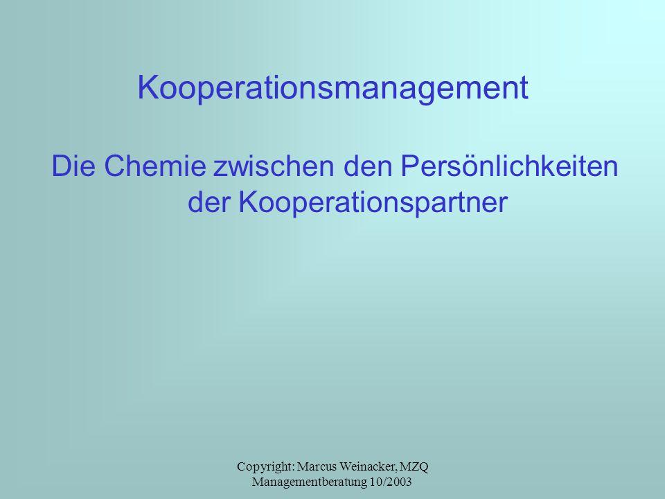 Copyright: Marcus Weinacker, MZQ Managementberatung 10/2003 Kooperationsmanagement Die Chemie zwischen den Persönlichkeiten der Kooperationspartner