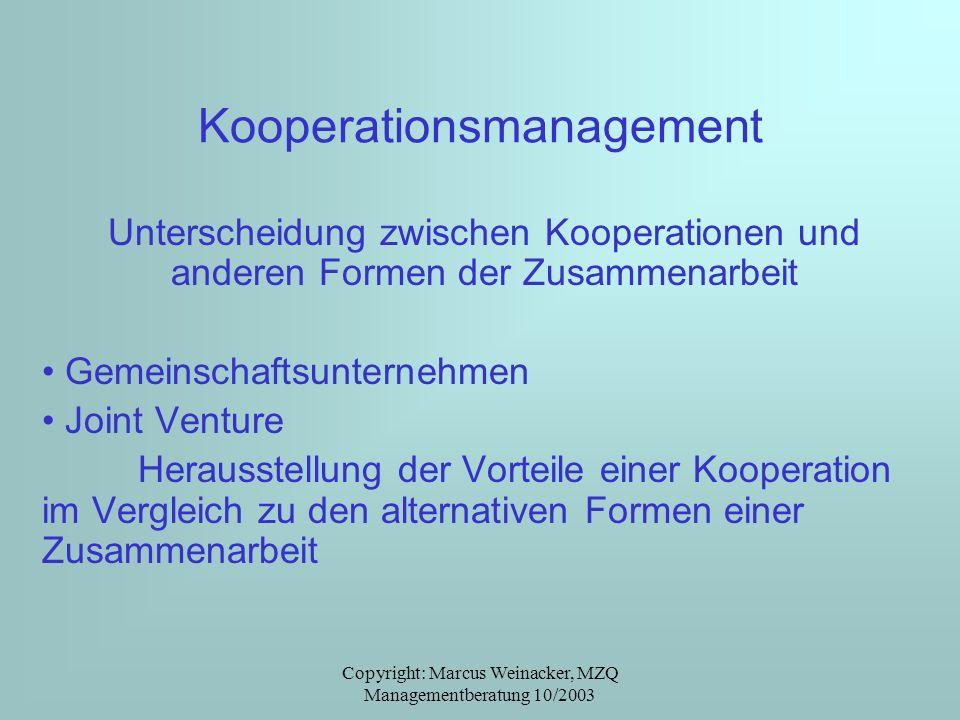 Copyright: Marcus Weinacker, MZQ Managementberatung 10/2003 Kooperationsmanagement Unterscheidung zwischen Kooperationen und anderen Formen der Zusamm