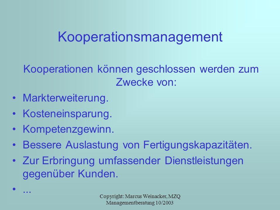 Copyright: Marcus Weinacker, MZQ Managementberatung 10/2003 Kooperationsmanagement Kooperationen können geschlossen werden zum Zwecke von: Markterweit