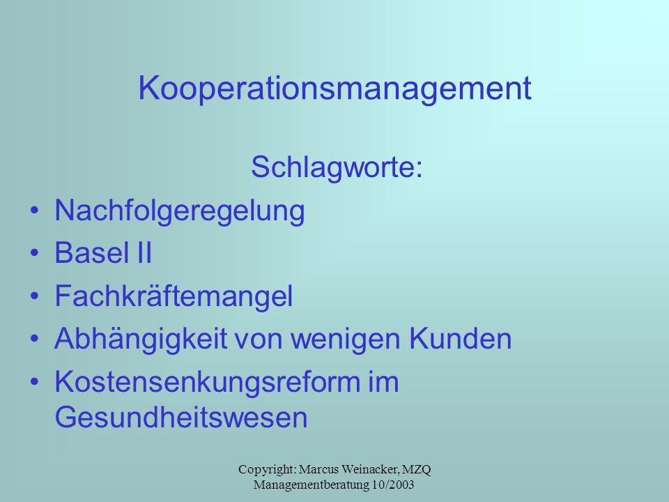 Copyright: Marcus Weinacker, MZQ Managementberatung 10/2003 Kooperationsmanagement Schlagworte: Nachfolgeregelung Basel II Fachkräftemangel Abhängigke