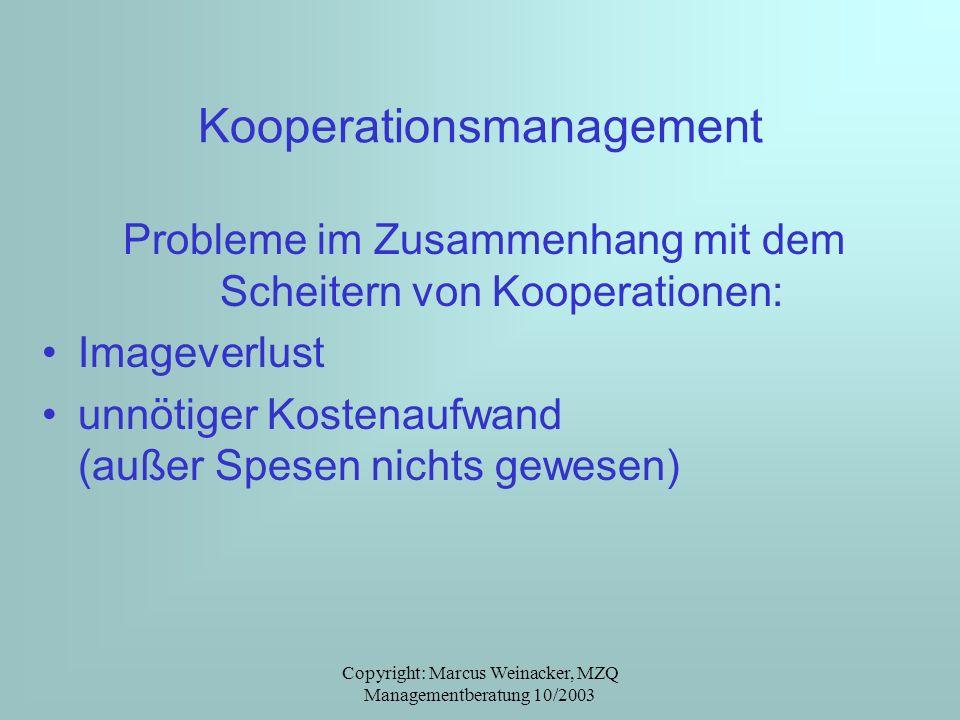 Copyright: Marcus Weinacker, MZQ Managementberatung 10/2003 Kooperationsmanagement Probleme im Zusammenhang mit dem Scheitern von Kooperationen: Image