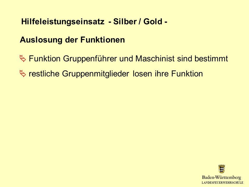 LANDESFEUERWEHRSCHULE Hilfeleistungseinsatz - Silber / Gold - Auslosung der Funktionen Funktion Gruppenführer und Maschinist sind bestimmt restliche G