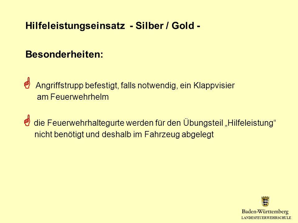 LANDESFEUERWEHRSCHULE Hilfeleistungseinsatz - Silber / Gold - Angriffstrupp befestigt, falls notwendig, ein Klappvisier am Feuerwehrhelm die Feuerwehr