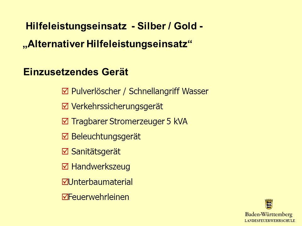 LANDESFEUERWEHRSCHULE Hilfeleistungseinsatz - Silber / Gold - Einzusetzendes Gerät Pulverlöscher / Schnellangriff Wasser Verkehrssicherungsgerät Tragb