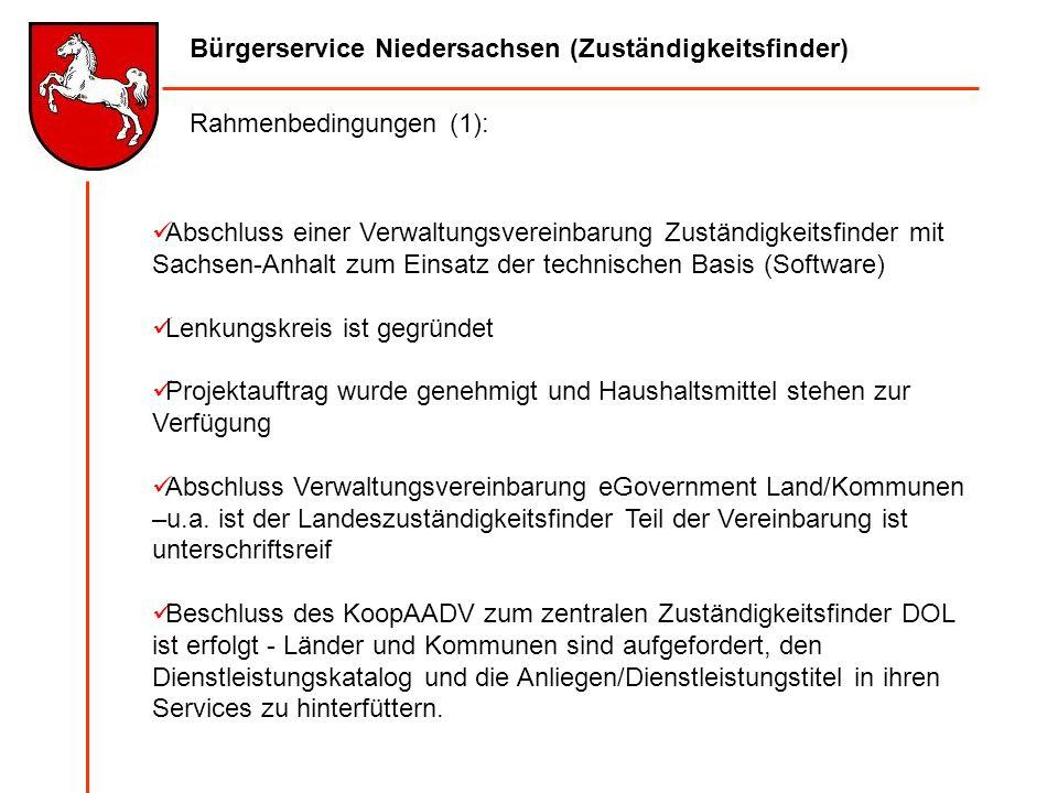 Bürgerservice Niedersachsen (Zuständigkeitsfinder) Abschluss einer Verwaltungsvereinbarung Zuständigkeitsfinder mit Sachsen-Anhalt zum Einsatz der tec