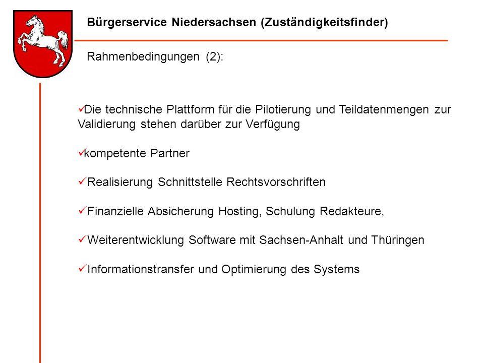 Bürgerservice Niedersachsen (Zuständigkeitsfinder) Die technische Plattform für die Pilotierung und Teildatenmengen zur Validierung stehen darüber zur
