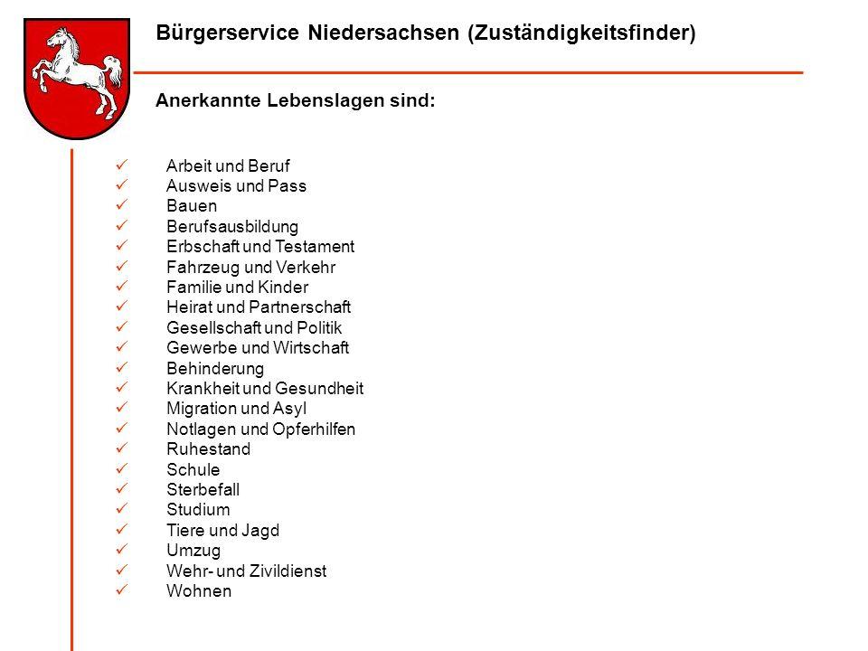 Bürgerservice Niedersachsen (Zuständigkeitsfinder) Anerkannte Lebenslagen sind: Arbeit und Beruf Ausweis und Pass Bauen Berufsausbildung Erbschaft und